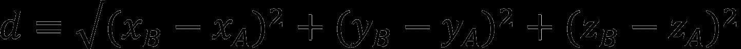 Формула расчета расстояния между двумя точками (длины отрезка)