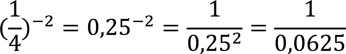 Преобразование обыкновенной дроби в десятичную и возведение в отрицательную степень (пример)