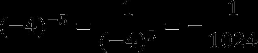 Пример возведения отрицательного числа в отрицательную степень