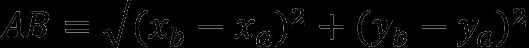 Формула для расчета расстояния между двумя точками на плоскости