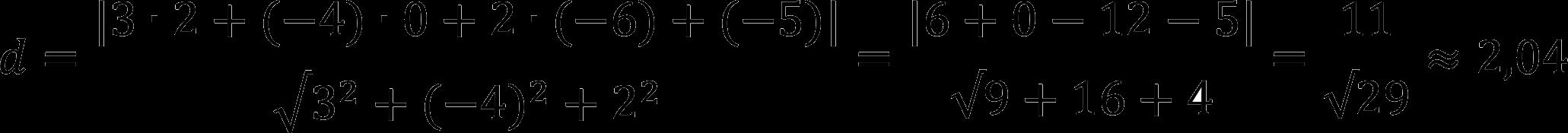 Пример расчета расстояния от точки до плоскости
