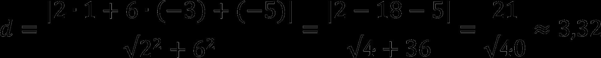 Пример расчета расстояния от точки до прямой
