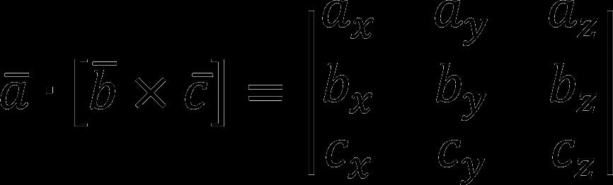 Формула смешанного произведения трех векторов